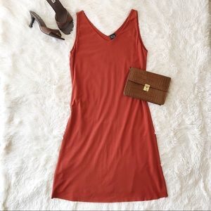 Eileen Fisher silk, v neck, sleeveless dress
